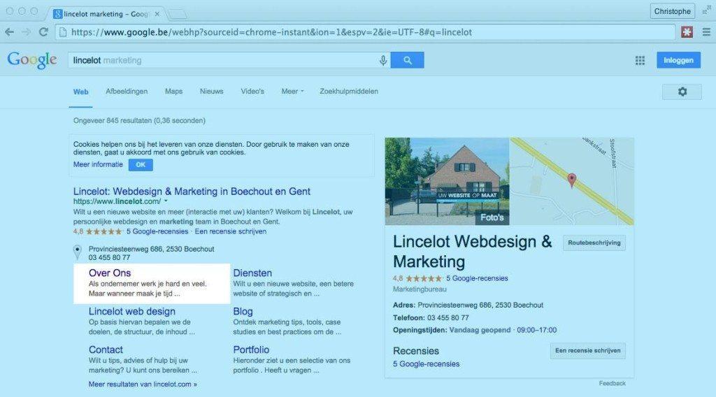 Snippet van 'Over ons' pagina in Google