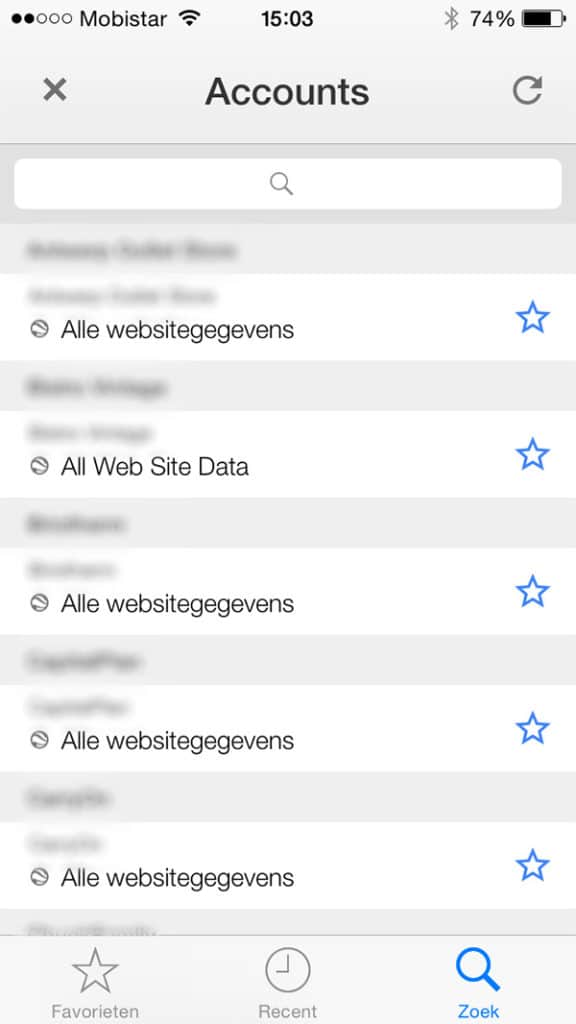 Overzicht websites in accountlijst Google Analytics App