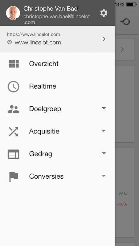 Menu met rapporten in Google Analytics App