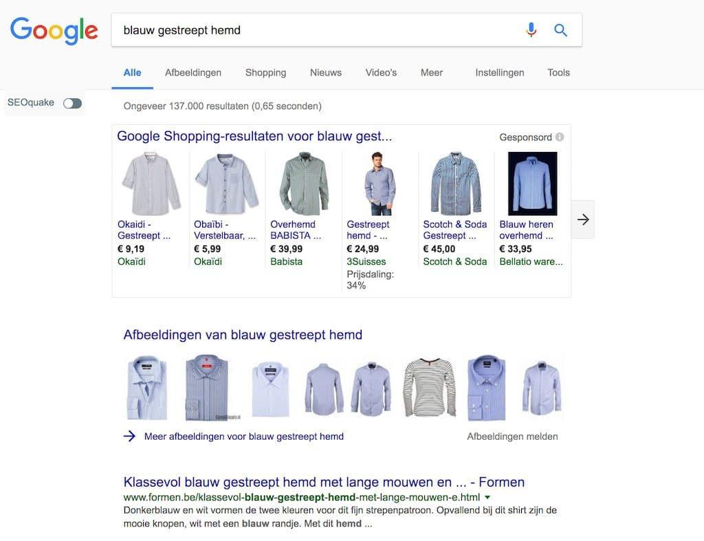 Google Shopping Campagne blauw gestreept hemd