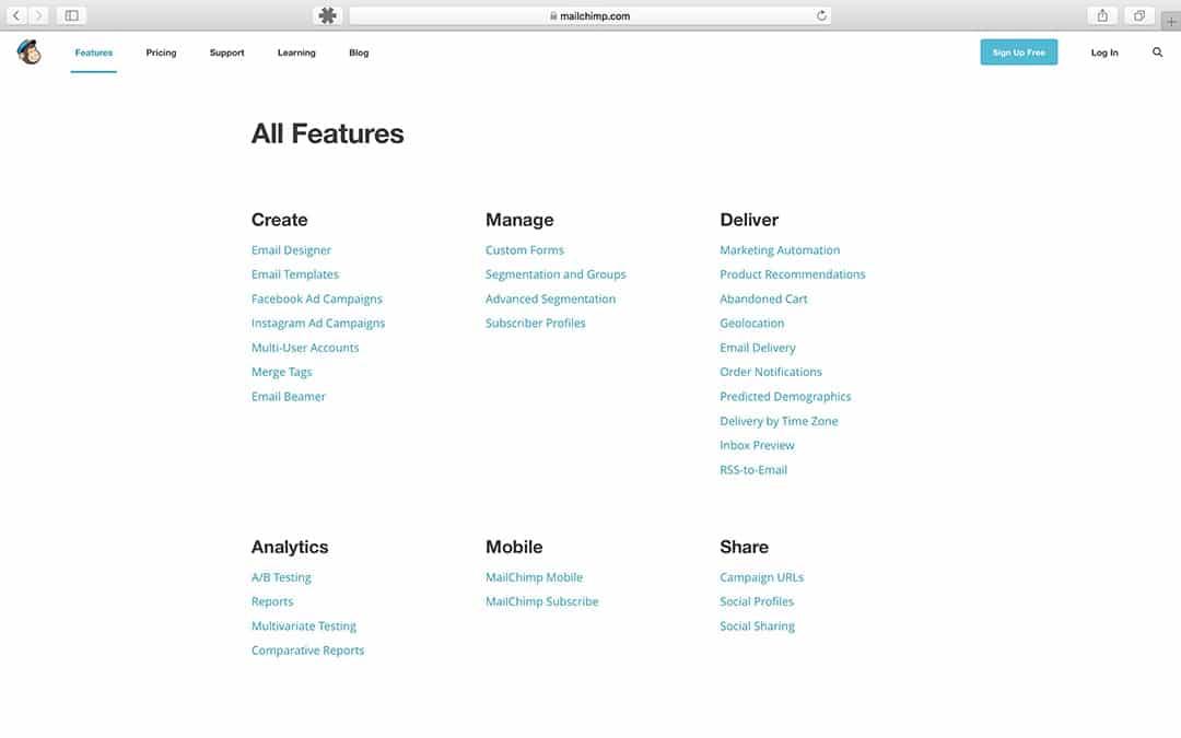 Features MailChimp - Handleiding MailChimp - Lincelot