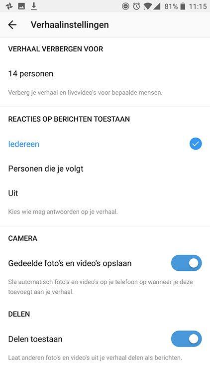 Instagram Stories - Instellingen - Lincelot