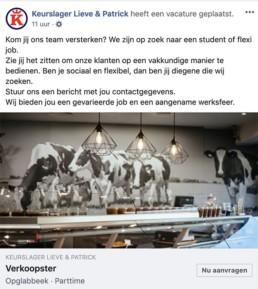 Voorbeeld 2 Facebook vacature - Facebook vacatures vind nieuwe werknemers via social media - Lincelotkopie