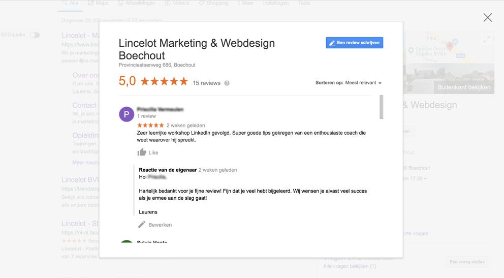 Hoe verzamel je Google recensies voor je bedrijf - voorbeeld reactie - Lincelot