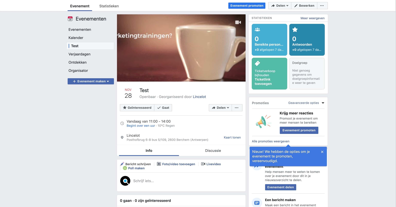 Facebook Event pagina