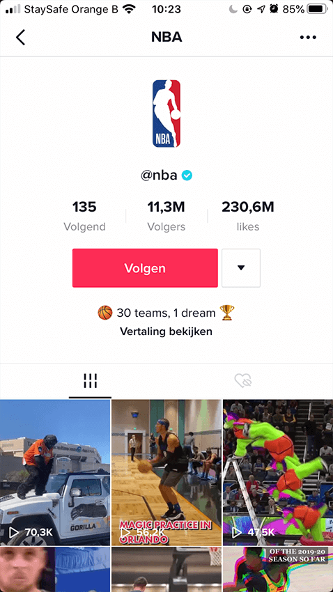 Screenshot NBA 1 - TikTok marketing - Lincelot