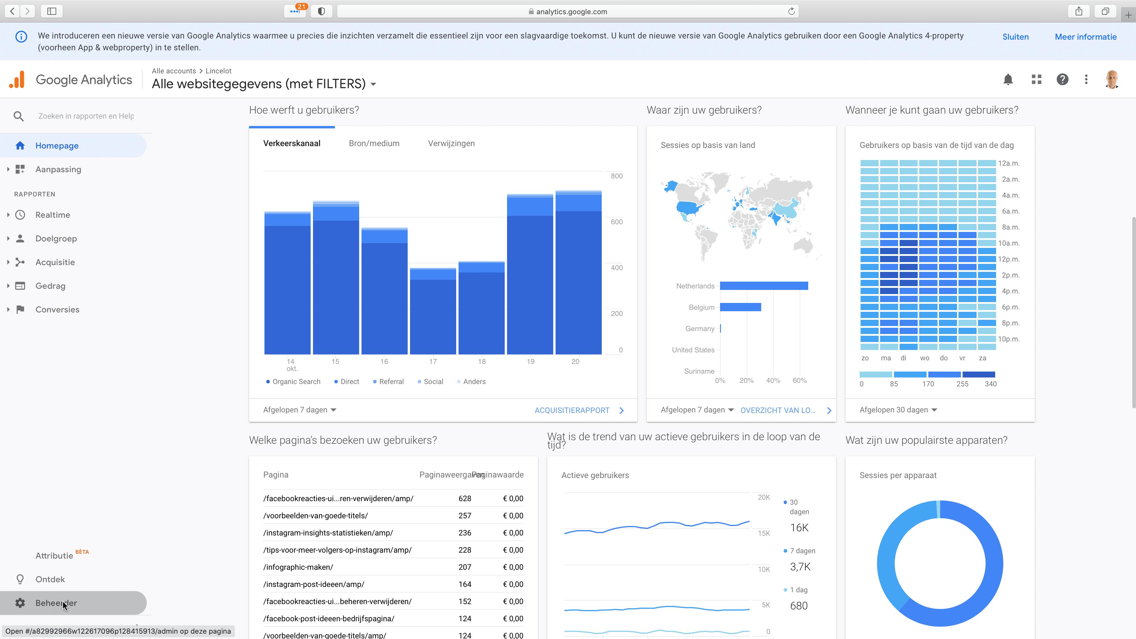 1. Log in op Google Analytics en klik op 'Beheerder'. Deze knop vind je links onderaan. - Lincelot