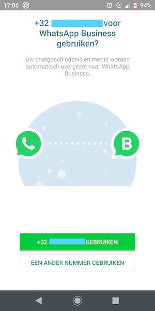 2. WhatsApp Business koppelt de app automatisch aan het nummer van je sim-kaart. Wil je een vast nummer gebruiken? Klik dan op 'Een ander nummer gebruiken' en geef je vast nummer in.
